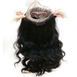 360 Cuerpo cordón de la onda del pelo Los frontales cierres frontales del cordón del cabello humano con el bebé de la rayita natural correa ajustable n vertimiento de ninguna maraña