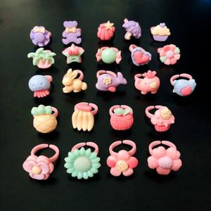Cluster Rings 20Pcs Mixed Cute Cartoon Kids Kawaii Resin Fruit Flower Animal Adjustable Sweet Child Girls Children Gifts Jewelry