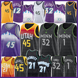 Donovan Karl-Anthony 32 Villes 45 Mitchell Anthony 1 Edwards Basketball Jersey Kevin 21 Garnett John Karl Stockton Malone Rudy Conley Gobert