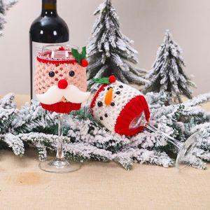 verre de vin de Noël mis en Père Noël bonhomme de neige Décorations de Noël pour la maison Coupe de Noël Couverture Décor Bonne année OWB2364