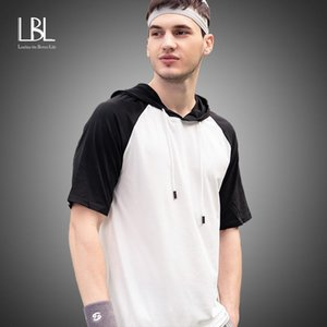 Men Slim Fit Hoodie Streetwear Tops Summer Casual Large Size Short Sleeve O-neck Patchwork Top Tees Spring Mens Clothing Trend