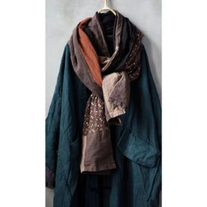 Women Loose Cotton Linen Patchwork Scarves Ladies Vintege Spliced Scarf Female 2020 Scarf
