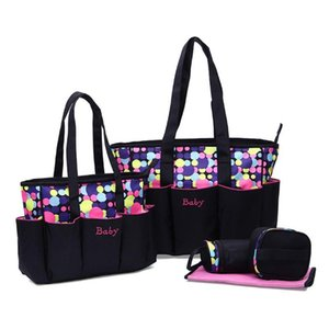 Multifuction Dot Pattern Mommy Tote Travel Bags Set 5pcs Diaper Handbag with Changing Pad Bottle Bag M5TE