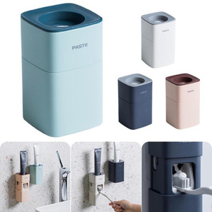 Automatic Toothpaste Dispenser Dust-proof Toothbrush Holder Wall Mount Stand Bathroom Accessories Set Toothpaste Squeezers Tooth