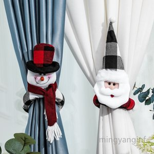 Christmas Curtain Buckle Santa Snowman Curtain Tieback Doll Wine Bottle Topper for Home Window Decorations MY-inf0439