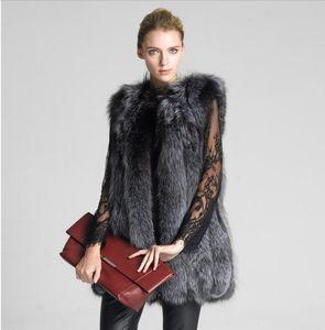 New Women's Vest Hooded Cap Fur Fashion Luxury Thick Warm Vest Faux Hair Down Coat Jacket Solid Color Fur Vests Women Coats