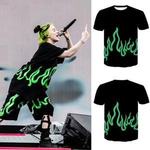 2020 3d print T-shirt Couple T-shirts Fluorescent Green Flame Print Short Sleeve T-shirt Men Women 3D Printed Short Sleeve