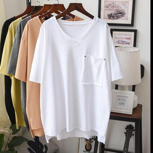 2020 Spring Summer Solid 100% Cotton Pullover T Shirt Women Short Sleeve V Neck Maxi Oversized Casual Tee Top Good Quality