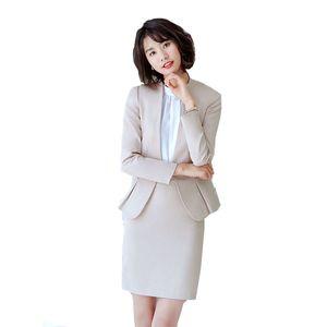 2020 Herbst-Frauen-Middle-Hülsen-Büro-Karriere Geschäft Damen 2ST Set Blazer + Rock 2 Stück Arbeit Anzug Uniform