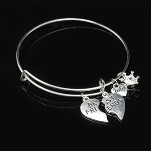 """Best Friends""""Love"" Crystal Crown Pendants Special Design Adjustable Metallic Bracelets & Bangles for Women"