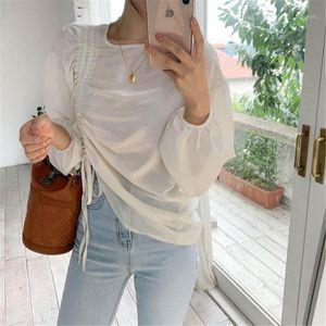 Kitty Alien Kitty Vertio Branco Chique Sólido Doce Doce Cordão Camisas 2020 Streetwear Minimalista Solto Doce Blusas Casuais Blusas1