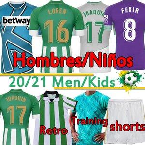 2020 2021 Real Betis Soccer Jersey Joaquin B.iglesias Juanmi Fekir Bartra 1998 Canales الرجعية الفانيلة الرجال + أطقم أطفال قمصان كرة القدم التدريب