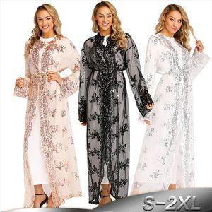 Plus Size Long Kimono Mujer 2019 Sexy Dubai Abaya Muslim Women Embroidery Chiffon Mesh Cardigan Blouse Roupas Feminina Clothes