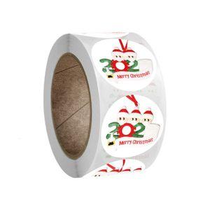 Christmas 500pcs roll Round Mask Snowman Stickers Self-adhesive Label 3bgl