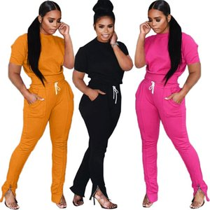 2020Tracksuit 2Pieces Sets For Women Autumn Long Sleeve Pullover Sweatshirt Tops Flare Bottoms Pants Stretch Outfit For Fitness
