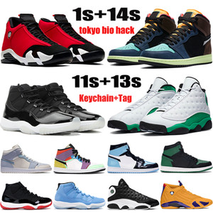 New Jumpman Shoes de baloncesto 1 1s Tokyo Bio Hack 11 11s 25 aniversario Criado 13 13s Lucky Green 14 14s Men Mujer zapatillas de deporte