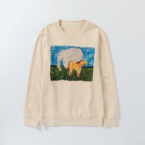 Alta Qualidade Mens Moda Vintage Moletons Homens Mulheres Outono Inverno Elephant Cavalo Imprimir camisola Womens algodão Terry camisolas do Hoodie