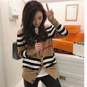 Женский свитер Женская куртка Cashmere Cardigan MID-длиной вязаный пиджак V-образным вырезом Свободные полосатый свитер Тонкий женский мозоль 201127
