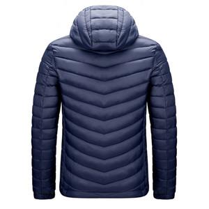 DARPHINKASA invierno de los hombres Parka Escudo chaqueta impermeable con capucha de la chaqueta de los hombres del sombrero desmontables sólida capa de color 201118 Ultra Ligero Mujeres Parka