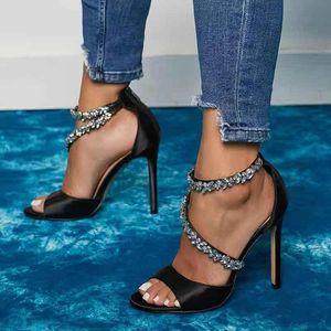 Estilo Ocidental Bling Diamonds Gem Ornament Strap Black Sandálias Aberto Redondo Toe Toe Zip Luxury Senhora Sapatos de Salto Alto
