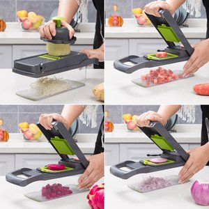 Vegetable Chopper Food Chopper Multifunctional Slicer with Container Household Kitchen Cutter for Veggie Fruit Salad Onion Potato