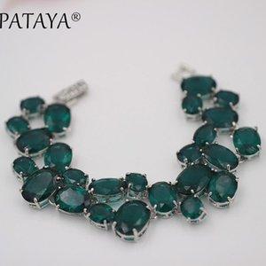 Pataya New Multicolor Oval Natural Zircon Artificial Braccialetti Donne vintage gioielli da sposa True Bianco bianco Link Braccialetto