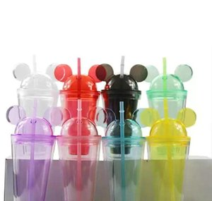 8colors 15oz acrylic tumbler with dome lid plus straw double wall clear plastic tumblers with mouse ear reusable cute drink cup gPKiB