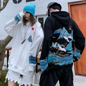 Guofeng mountain and water printed sweater men's Hoodie ins trendy international loose oversize student couple's coatC4R8