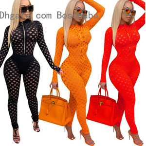 Women Jumpsuit Hole Fashion Sexy Hollow Perspective Slim Fit Zipper Mesh Rompers Ladies Casual Long Sleeve Trousers Bodysuit Fall New 802-2