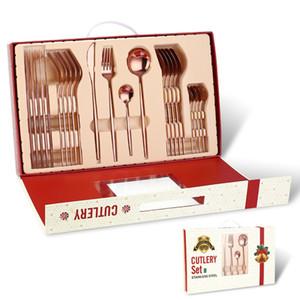Joyeux table de vaisselle de Noël 24 pièces Cadeaux de Noël Couteau de vaisselle Couteau à fourche Set de vaisselle Décorations de Noël Vt1834