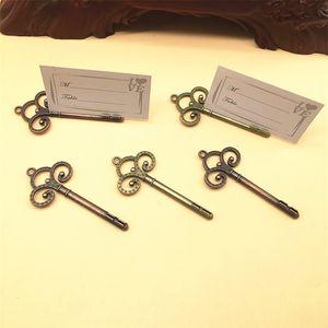 Hochzeit Bevorzugungen Skeleton Key-Platzkartenhalter Antique Bronze Copper Key-Tabellen-Zahl Ständer Tischkartenhalter Hochzeit Dekoration EEC3399