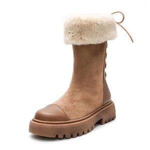 BLWBYL Plateforme Bottes Femmes Bottes Casual Bottes Coupeaux Plus Velvet Hiver Shoes Femme Pointe-Bottes1