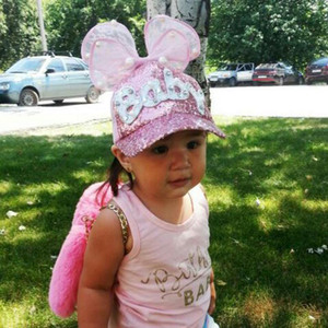 Cokk Kids Baseball Cap Snapback Hats For Girls Baby Big Yarn Bow Sequin Mesh Children Summer Mesh Cap Sun Visor 3 8 Swy sqcEuR whole2019