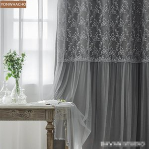 Custom curtains Luxury European Royal Princess Wind Bedroom Modern Simple grey cloth blackout curtain tulle drape B764