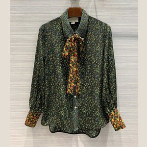 Autumn and winter new wild retro hit color bow ribbon green floral silk slim shirt Blouses