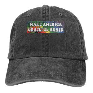 Make America Grateful Again Denim Baseball Caps Unisex Gym Make America Grateful Again Bill Caps Fashion Active Dome Hats