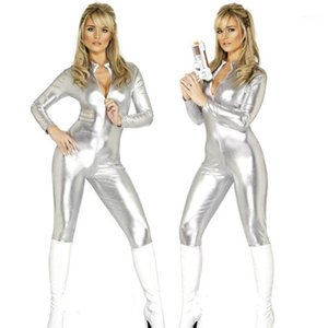Womens Dance Costume Bar Nightclub DS DJ Costumes Silver One-Piece Stage Costumes Zippidy Jumpsuit Rave Festival Outfit SL24861