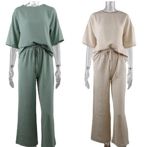Nadafair Women Set Casual Loose T-shirt And High Waist Wide Straight Pant Two Pieces One Kit Pure Outfit Home Suit F sqcHit