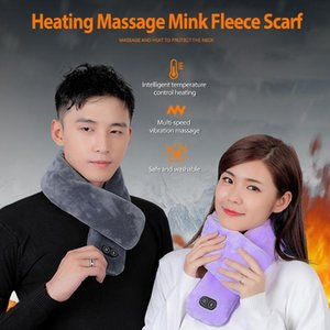 Vibration-Massage Women Scarves Men Winter Warm Scarf USB Heated Scarf Heating Couple Neckerchief Plush Collar Muffler Bandana
