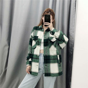 Women Plaid Jacket 2020 Spring Fashion Button Long Sleeve Coat Casual Office Warm Mash Up Outwear Oversized Streetwear Coat 8Q