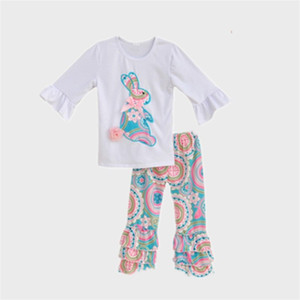 Two Pieces Set Clothing Sets Long Sleeve Pants Bow Rabbit Pattern Lovely Jacket Kids Woman Man Trousers Autumn Easter 2qq K2