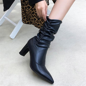 PXELENA Luxury Celebrity Genuine Leather Pleated Mid Calf Boots High Heels Autumn Spring 2021 Shoes Party Evening Dress Boots 39
