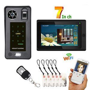 7inch câblé WIFI WIFI FINGYPRINT IC CARD VIDEO PORTE PORTE Téléphone Système d'interphone avec système de contrôle d'accès à la porte, support à distance A1