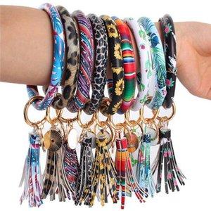 46styles Leather Bracelet Key Chain PU Wristr Round Key Ring Tassel Pendant Leopard Bufflao Wristband Keychain Bracelets Key Rings u347