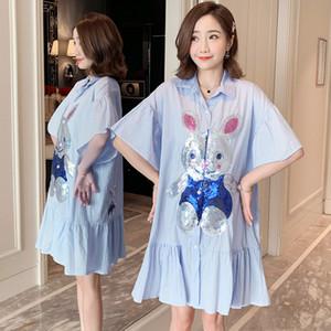 Vestiti di maternità 2020 di nuovo stile coreano-Style Large Size paillettes Coniglio Fiore Adesivi Nursing Summer Dress