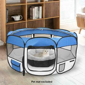 "45 ""600D 옥스포드 휴대용 애완 동물 강아지 소프트 텐트 Playpen 개 고양이 접는 상자 파란색"