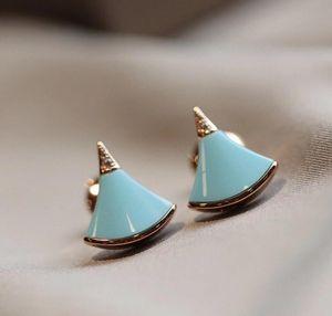 여성 결혼 보석 선물 무료 배송 PS4489 파란색 청록색 돌 고급스러운 품질 작은 팬 모양의 펜던트 목걸이