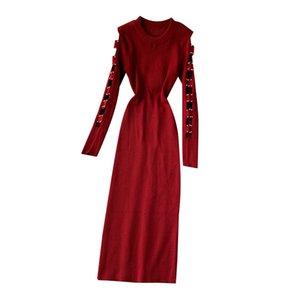 First Song Openwork Pauche en tricot perlé 2019New Automne et hiver Robe de femme à manches longues à manches longues à manches longues