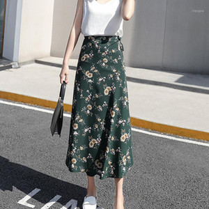 Women Flower Long Skirt Summer Beach Sunny Female Skirts Floral Chiffon Tutu Skirt1