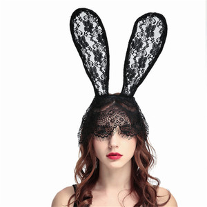 Christmas Black Lace Bunny Conejo Orejas Máscara Sexy Velo Diadema Durna Clubes de noche Mascarada Máscara Halloween Party Mask Mascarilla JK1909PH